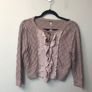 Free people pink crop sweater size small
